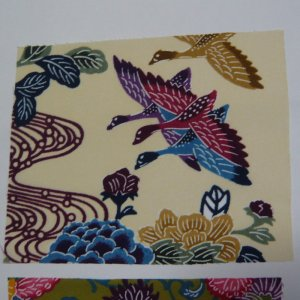 Photo2: Attractive design kimono fabric set (Bingata B)