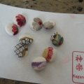 Flower buttons (6 pcs) made of kimono fabric