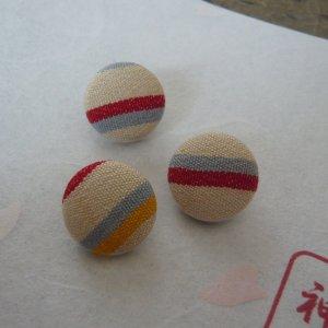 Photo3: Stripes buttons (6 pcs) made of kimono fabric