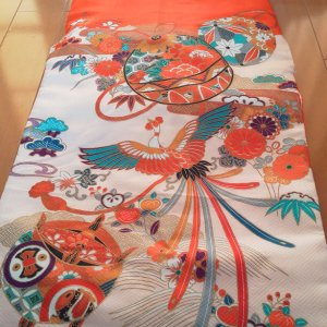 Photo1: Lovely red color and classic design. Vintage kimono for child