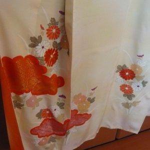 Photo3: Antique flowers design Vintage Kimono homongi