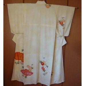 Photo2: Antique flowers design Vintage Kimono homongi