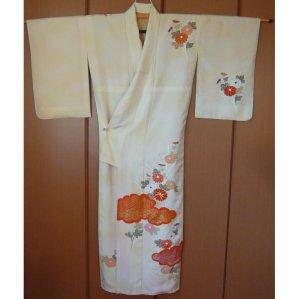 Photo4: Antique flowers design Vintage Kimono homongi