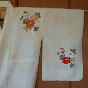 Photo5: Antique flowers design Vintage Kimono homongi