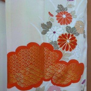 Photo1: Antique flowers design Vintage Kimono homongi
