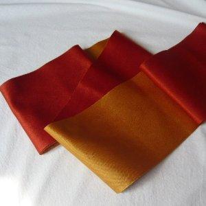 Photo3: Reversible vermillomn & gold color YUKATA OBI