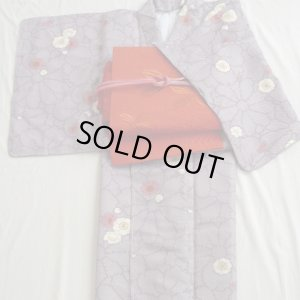 Photo1: New Kimono-Lovely violet color with Japanese apricot flower