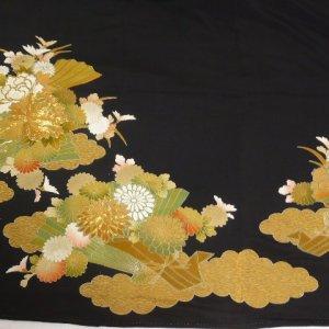 Photo3: Luxurious flowers & Japnese fan Vintage Kimono Black Tomesode