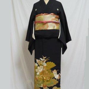 Photo2: Luxurious flowers & Japnese fan Vintage Kimono Black Tomesode