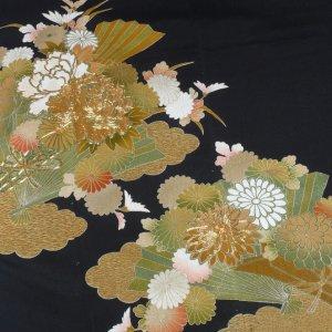 Photo1: Luxurious flowers & Japnese fan Vintage Kimono Black Tomesode
