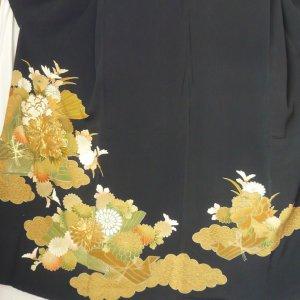 Photo4: Luxurious flowers & Japnese fan Vintage Kimono Black Tomesode