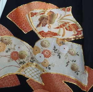 Photo3: Attractive a hawk is drawn in a fan. Vintage Kimono Black Tomesode