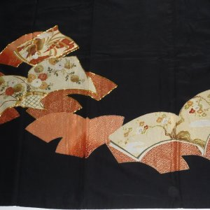 Photo4: Attractive a hawk is drawn in a fan. Vintage Kimono Black Tomesode