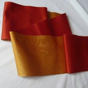 Photo2: Reversible vermillomn & gold color YUKATA OBI