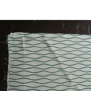 Photo5: Green waving line kimono fabric -cloth for sewing