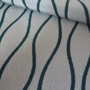 Photo3: Green waving line kimono fabric -cloth for sewing
