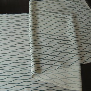 Photo2: Green waving line kimono fabric -cloth for sewing